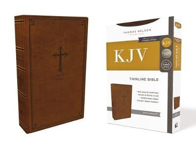 KJV, Thinline Bible, Leathersoft, Brown, Red Letter, Comfort Print - pr_294706