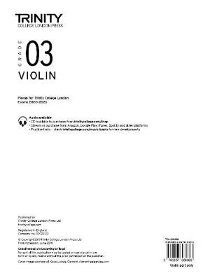 Trinity College London Violin Exam Pieces 2020-2023: Grade 3 (part only) -