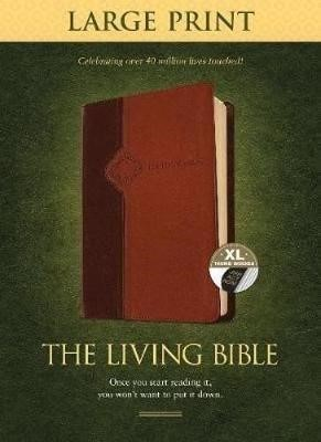 Living Bible Large Print Edition Brown/Tan, Indexed - pr_132848