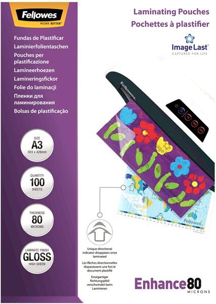 Fellowes Laminating Pouches A3 Gloss 80 Micron Pack 100 - pr_1721270