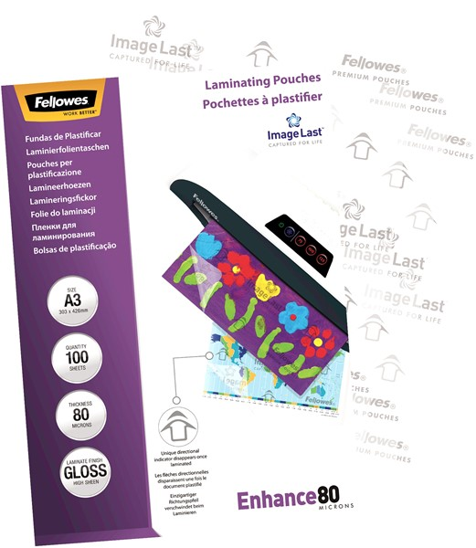 Fellowes Laminating Pouches A3 Gloss 80 Micron Pack 100 - pr_1721264