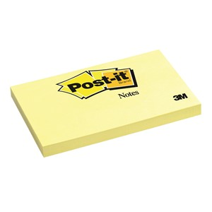 3M Post-It Notes Classic 655 73 x 123mm Yellow 100 Sheets