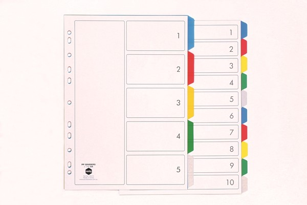 Marbig Polypropylene Dividers A4 5 Tab Multi-Coloured - pr_1702327