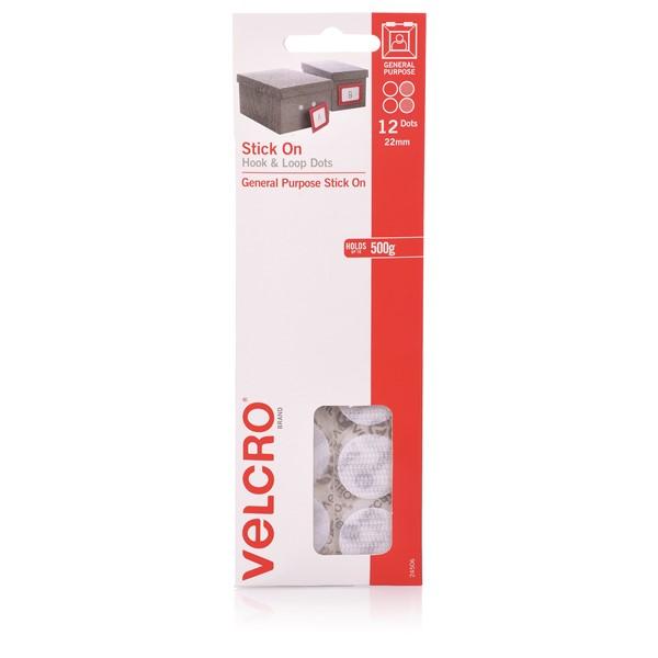 Velcro Dots Hook & Loop 22mm White 12 Pack - pr_1702732