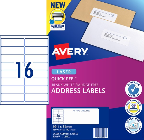 Avery Label L7162 99.1x33.9mm 100 Sheets -