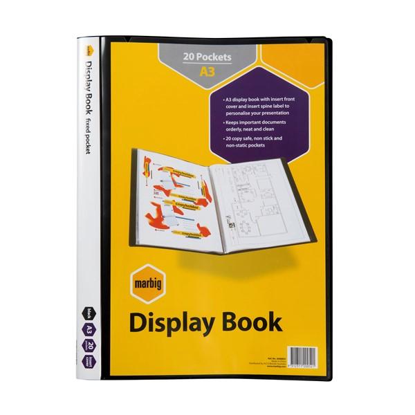 Marbig Display Book Insert Cover A3 20 Pocket Black -