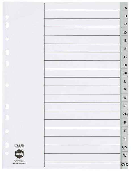 Marbig Polypropylene Divider A4 A-Z 20 Tab Grey - pr_1702257