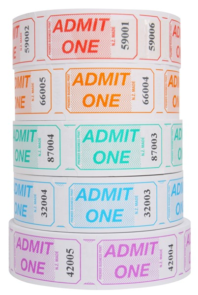 Globe Admit One Tickets Assorted Colours -