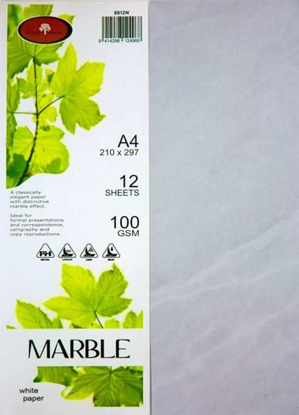Marbled Paper A4 100gsm White Pack 12 -