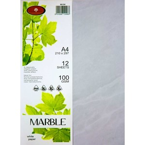 Marbled Paper A4 100gsm White Pack 12
