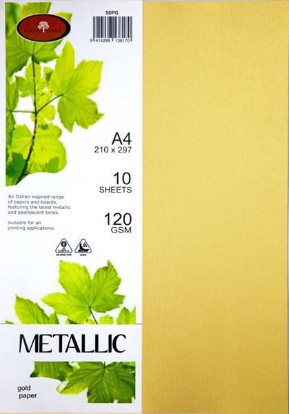 Metallic Paper A4 120gsm Gold Pack 10 -