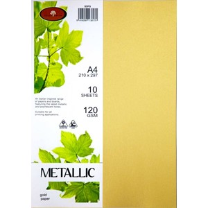 Metallic Paper A4 120gsm Gold Pack 10