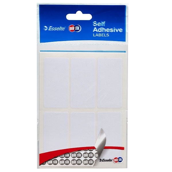 Quik Stik Rectangle Label 24x49mm White, Pack of 36 -
