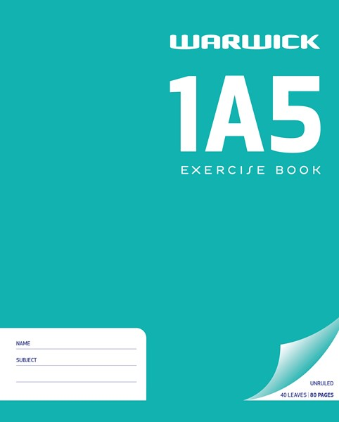 Warwick Exercise Book 1A5 255x505mm Unruled 40lf - pr_1773008