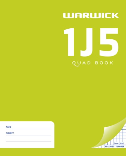 Warwick Exercise Book 1J5 255x205mm 5mm Quad 36 Pages - pr_1773014