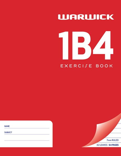 Warwick Exercise Book 1B4 32 Leaf Ruled 7mm 230x180mm (TLB Equivalent) -