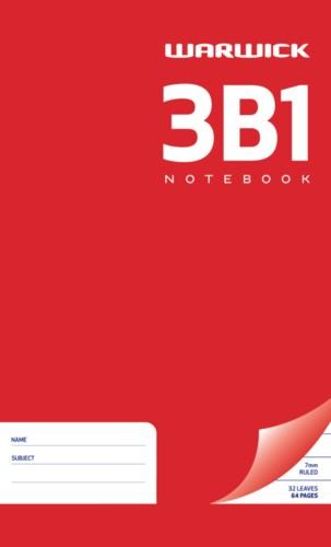 Warwick Notebook 3B1 32 Leaf Ruled 7mm 165x100mm (NB Equivalent) -