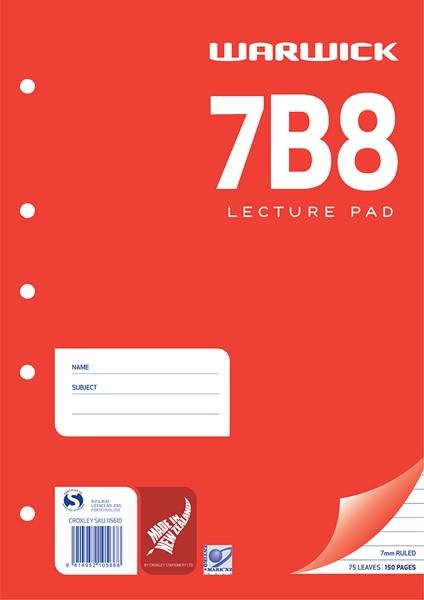 Warwick Lecture Pad 7B8 7mm Ruled A4 75lf - pr_400478