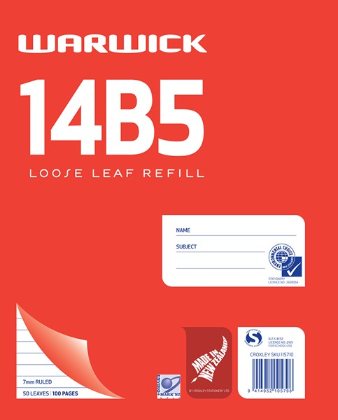 Warwick Pad 14B5 Loose Leaf 7mm 50lf - pr_400483