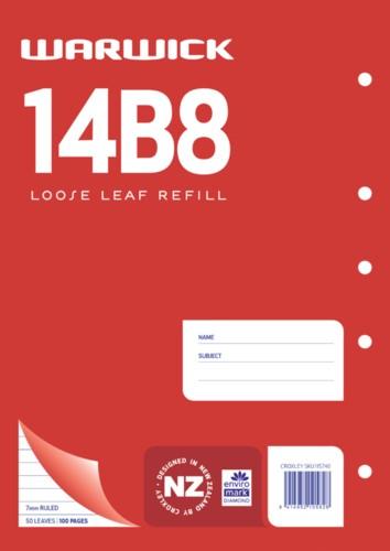 Warwick Refill 14B8 Loose Leaf 50 Leaf A4 Ruled 7mm -