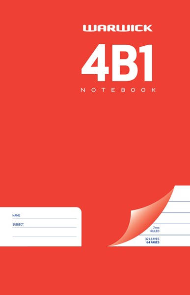 Warwick Notebook 4B1 165x100mm 7mm Ruled 64 Pages - pr_1773045
