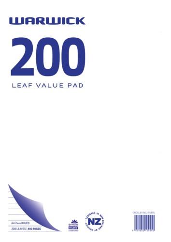 Warwick Pad A4 Value 200 Leaf Ruled 7mm -