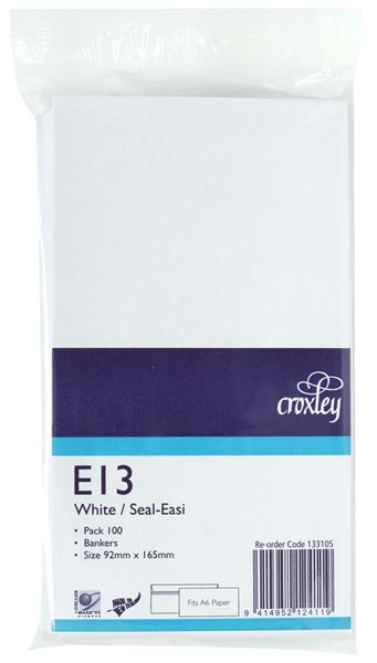 Croxley Envelopes E13 Seal Easi Non Window White Pack 100 - pr_400521