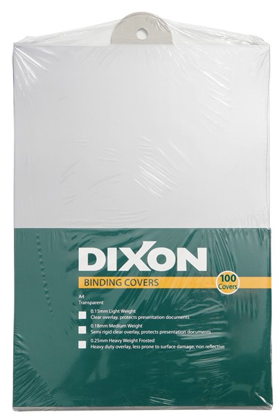 Dixon Binding Covers 0.18mm Clear Pack 100 - pr_431086