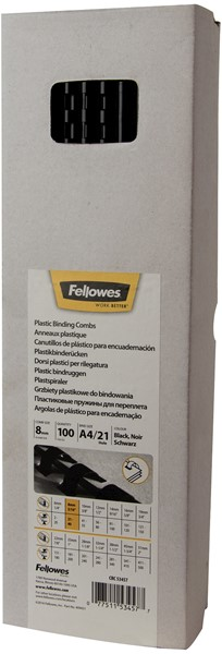 Fellowes Plastic Binding Combs 8mm Pack 100 - pr_1721271