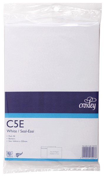Croxley Envelopes C5E Seal Easi Non Window White Pack 50 - pr_400532