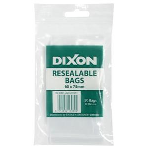Dixon Zip Lock Bags 65x75mm Pack 50
