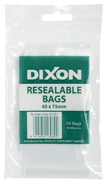 Dixon Zip Lock Bags 65x75mm Pack 50 -