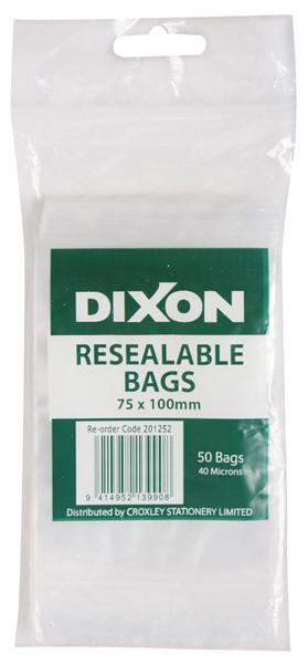 Dixon Zip Lock Bags 75x100mm Pack 50 -