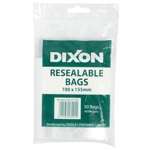 Dixon Zip Lock Bags 100x155mm Pack 50