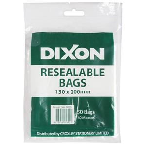 Dixon Zip Lock Bags 130x200mm Pack 50