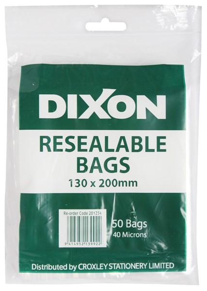 Dixon Zip Lock Bags 130x200mm Pack 50 -