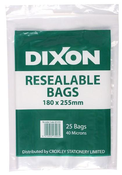 Dixon Zip Lock Bags 180x225mm Pack 25 -