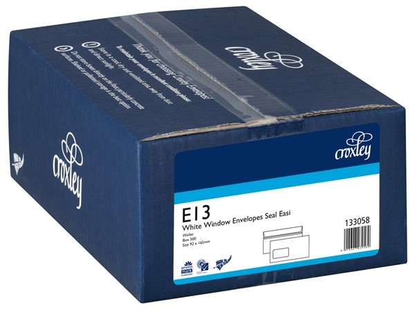 Croxley Envelopes E13 Window Seal Easi White Box 500 - pr_400539
