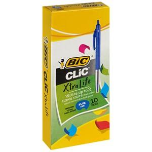Bic Ballpoint Pen Medium Clic Blue Box 10