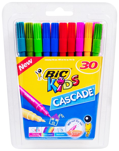 Bic Kids Cascade Colouring Pens 30 Pack Assorted -