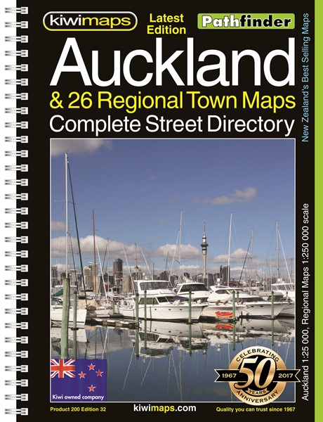 Pathfinder Auckland & 26 Regional Town Maps Complete Street Directory A4 Map Book -