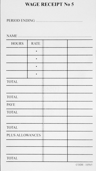 Brenex Wage Receipt Pad No.5 50 Pages -