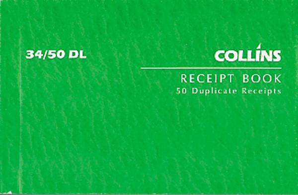 Collins Cash Receipt Book 34/50 DL Duplicate 50 Pages -