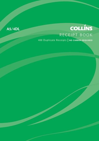 Collins Cash Receipt Book A5/4 DL Duplicate 100 Pages -