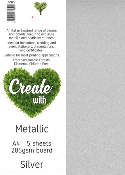 Metallic Board A4 285gsm Silver Pack 5 - pr_1704448