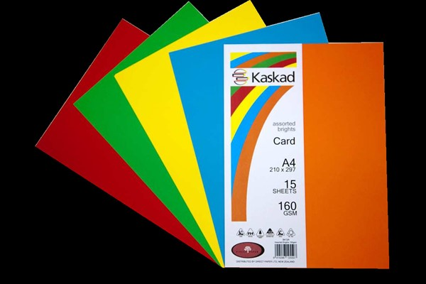 Kaskad Card A4 160gsm Assorted Brights Pack 15 - pr_400672