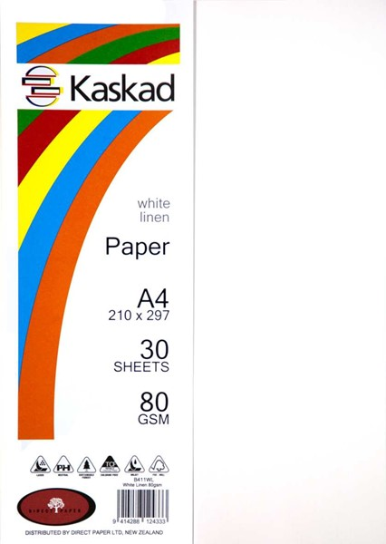 Kaskad Paper A4 80gsm White Linen Pack 30 -