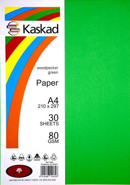Kaskad Paper A4 80gsm Woodpecker Green Pack 30 -