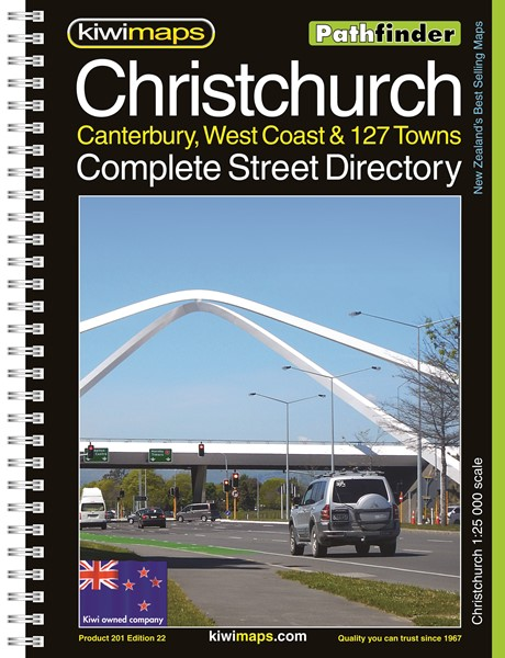 Pathfinder Christchurch, Canterbury, West Coast & 127 Towns Complete Street Directory A4 Map Book -