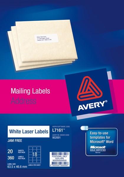 Avery Laser Label Address L7161-20 63.5x46.6mm 20 Sheets - pr_400692
